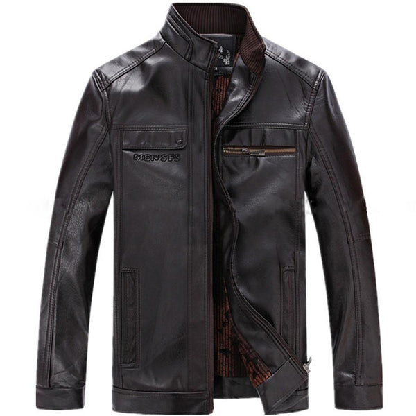 Men's Leather Jackets PU Full Sleeve Zipper Large Size Cozy-GKandaa.net