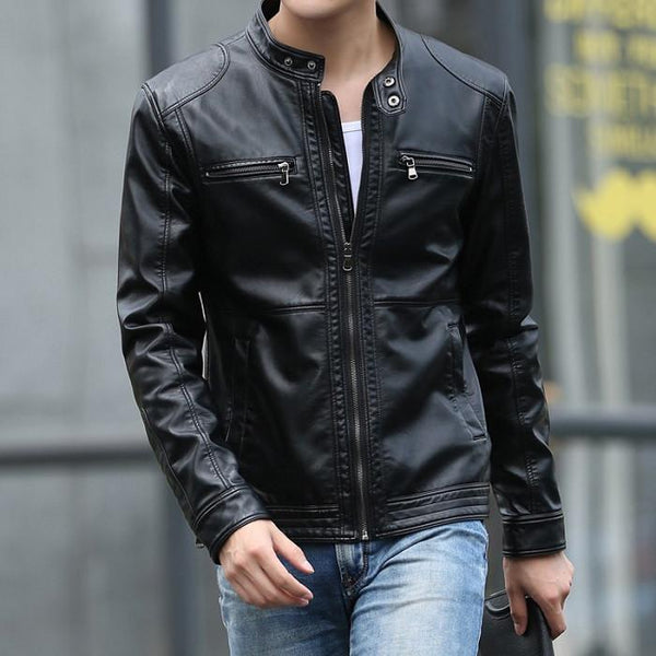 Men's Leather Jackets 5XL Slim Male Solid Casual SA010-GKandaa.net