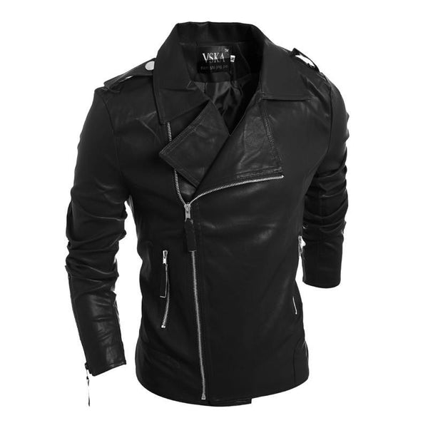 Men's Leather Jacketscasual zipper / solid color Slim collar pu-GKandaa.net