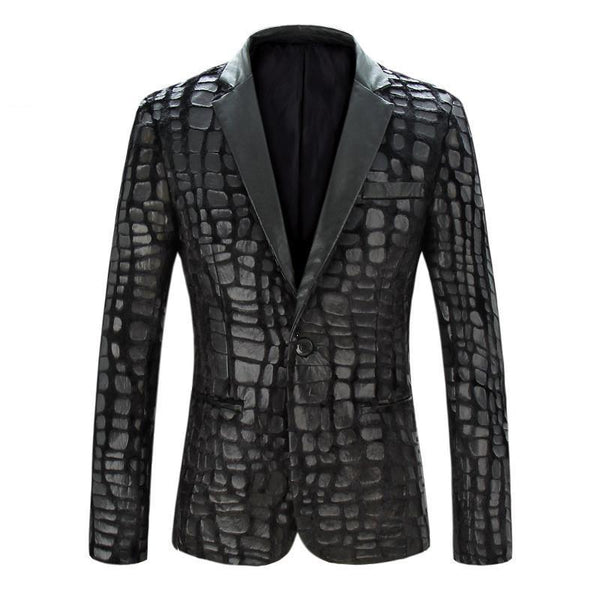 Men's Leather Jackets Casual Faux Spliced Velvet-GKandaa.net