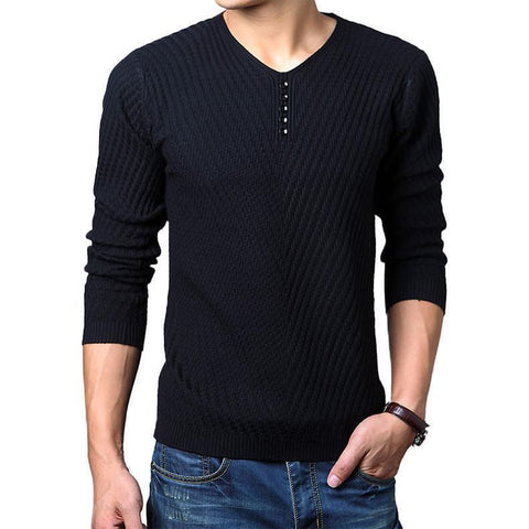 Men's Sweaters, [31] Casual Solid Color V- Cashmere Wool Pullover Knitted - GKandaa.net