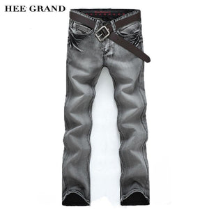 Men's Jeans Slim Water-washed Straight pants Light Gray-GKandaa.net
