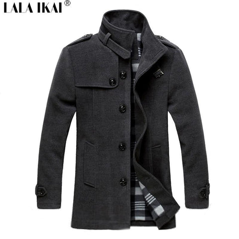 Men's Coats Jackets Wool Long Collar Male Winter Solid Slim-GKandaa.net