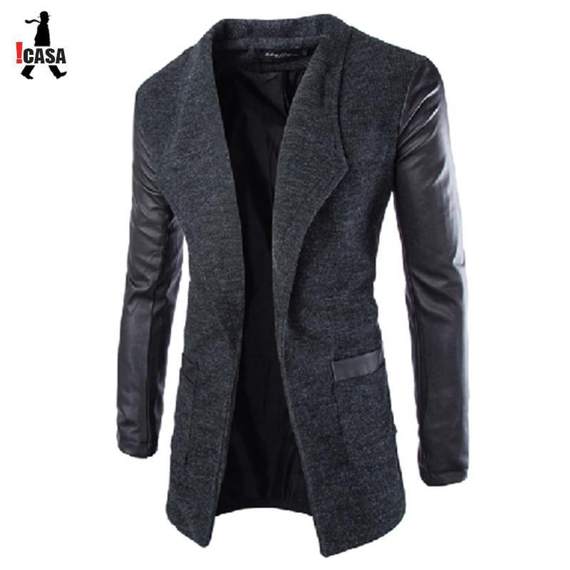 Men's Leather Jackets Coat Slim Wool-GKandaa.net