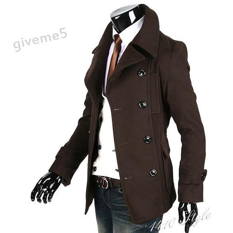 Men's Coats Winter Wool jacket brown-GKandaa.net