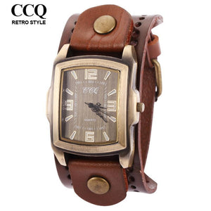 Men's Watches CCQ vintage Wide Leather Strap Quartz Big Hours-GKandaa.net