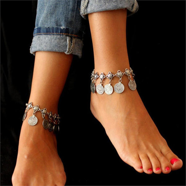 Women's Anklets Color Bohemia Metal Tassel Luxury Bracelet For Ankle-GKandaa.net
