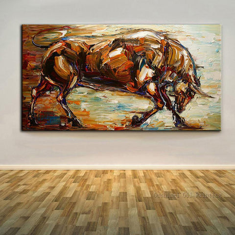 Art Oil Hand-painted picture 100% home-made Bull No Frame-GKandaa.net