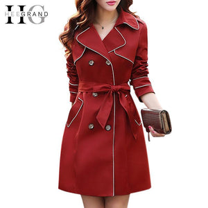 Women Trench Spring Slim Double Breasted Full Sleeve Coat-GKandaa.net
