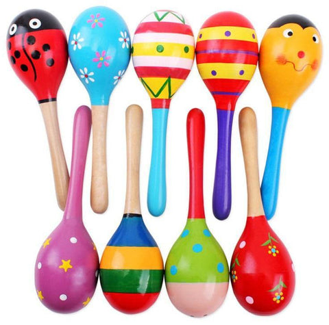 Wooden Baby Toys Colorful Musical Rattle Party Gift- 1 pcs-GKandaa.net