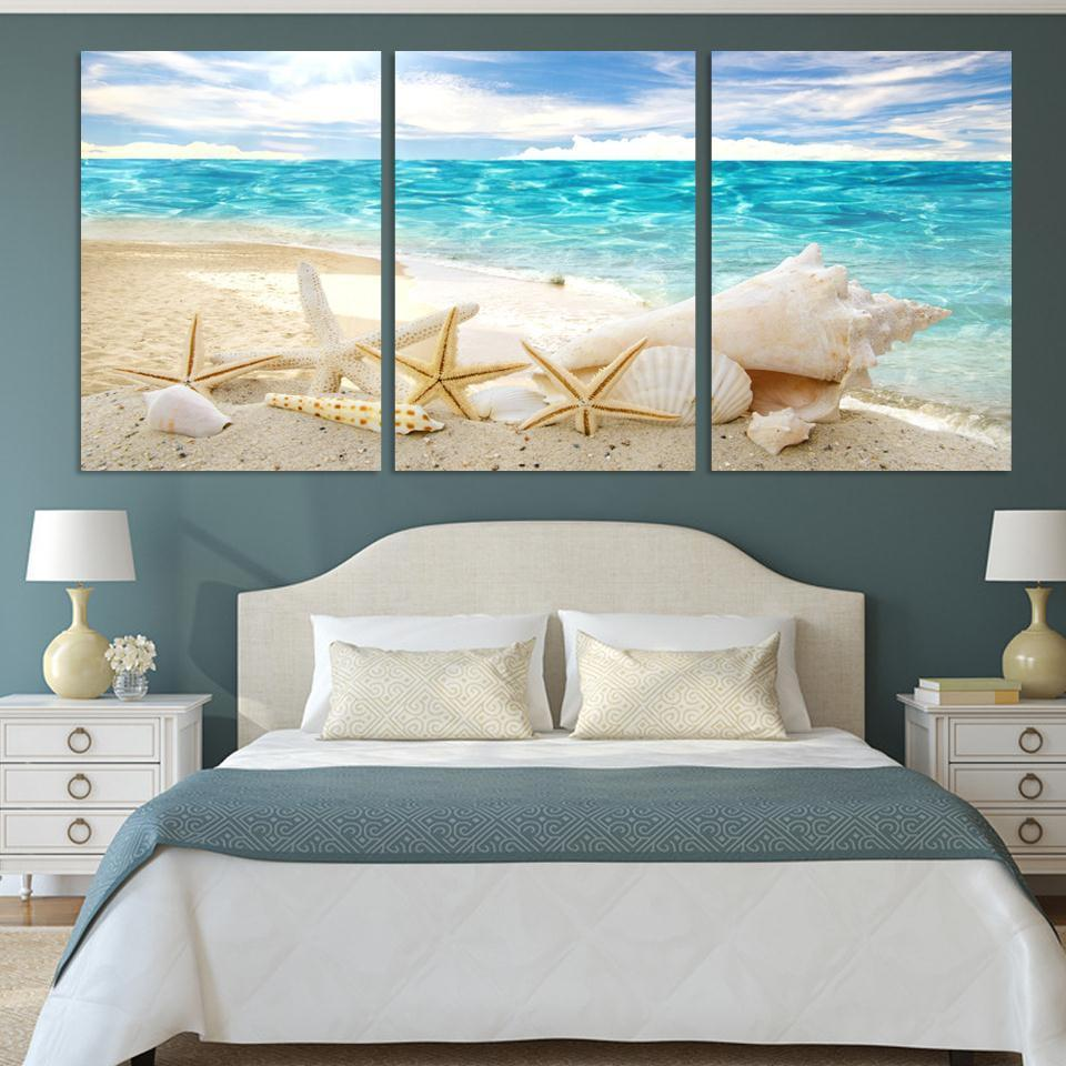 Art Oil Painting 3 Pieces Of Sea Shells modern Picture No Frame-GKandaa.net