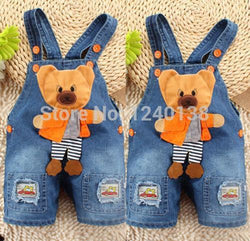 Girls Boys Kids Denim Jeans One-pieces bear Rompers - GKandAa - 1