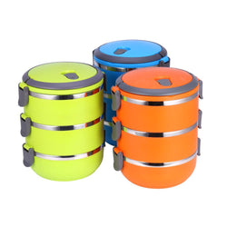 1Pcs Durable Round Shape Portable Food Container Thermal Lunch Box Bento Food Picnic Container - GKandAa