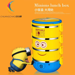Cute Cartoon Minion stainless steel Lunch Box For Kids - GKandAa