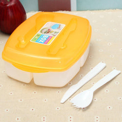 3-compartment Bento Food Sealed Boxes Kitchen Organizer Lunch Box With Fork Spoon - GKandAa