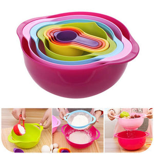 Lunch Box Multicolored Plastic Salad Bowl Measuring Cup Set Scale-GKandaa.net