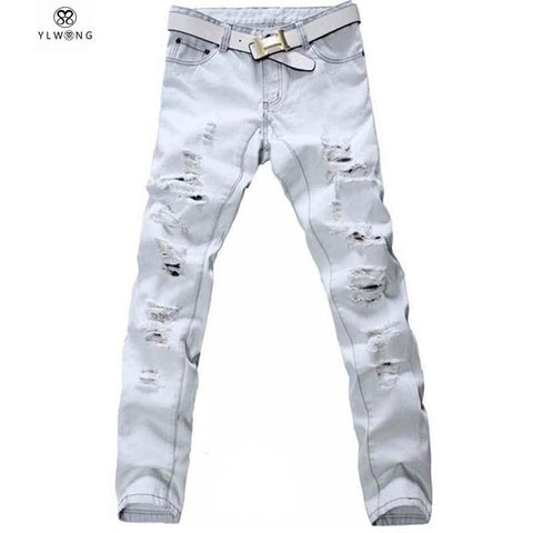 Men's Jeans Denim Ripped Loose light white heavy casual slim pants-GKandaa.net