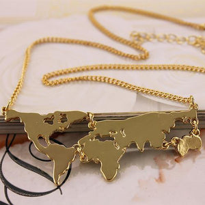 Women's Chain Necklaces Art World Map Exaggerated pendants necklace-GKandaa.net