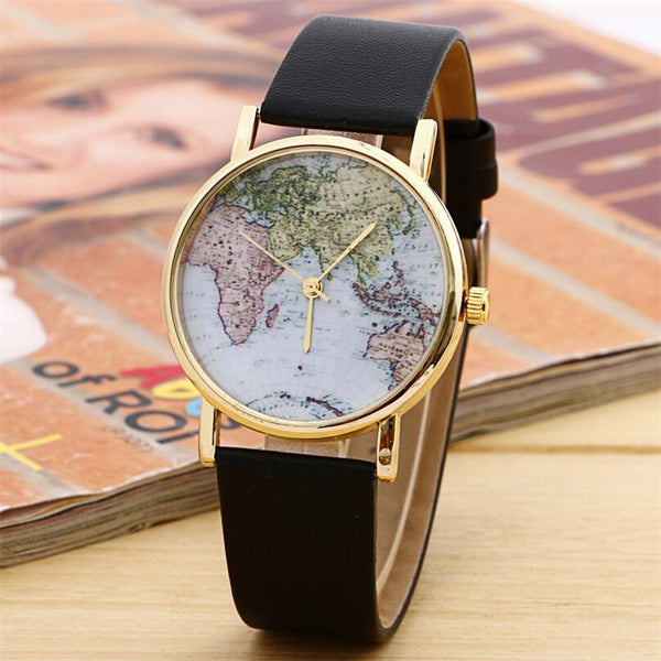 Women Wrist Watch World Map Round Leather Quartz Wristwatches-GKandaa.net