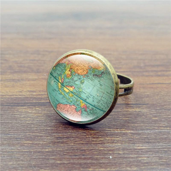 Art World Map Vintage Globe Ring Planet Earth-GKandaa.net