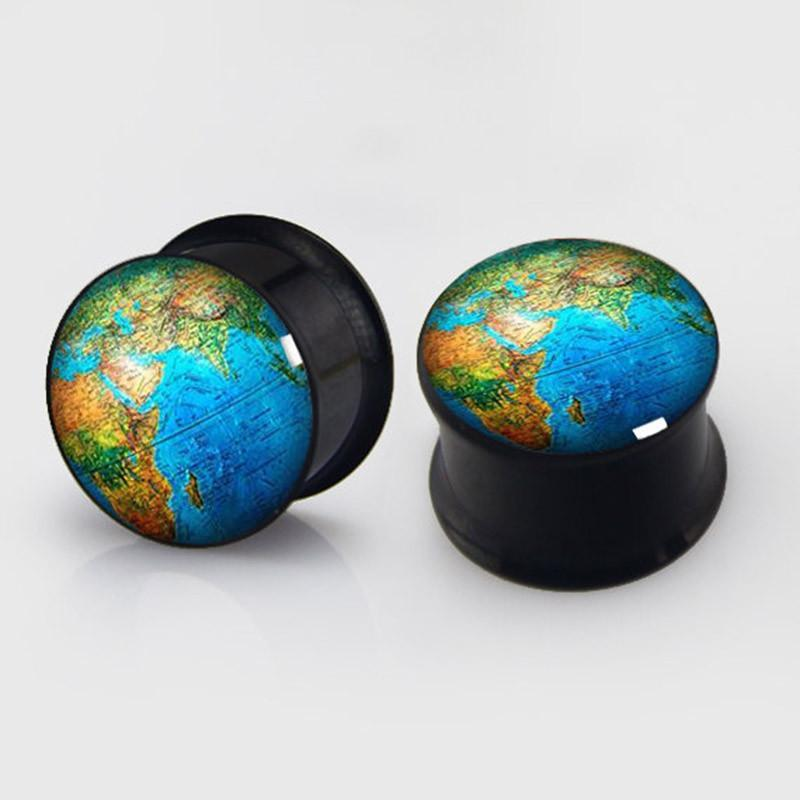 Art World Map 2 pieces plugs plug gauges steel flesh-GKandaa.net