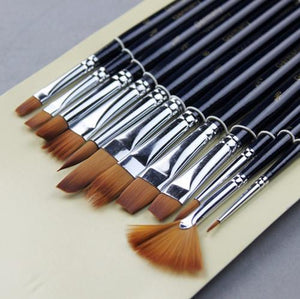 Art Supplies 12 pcs different shape gouache watercolor brush-GKandaa.net