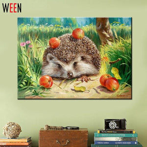 Art Oil Painting Hedgehog Coloring DIY Digital No Frame-GKandaa.net