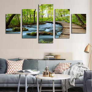 Art Oil Painting 5 Piece Woods Waterfalls HD On Canvas No Frame-GKandaa.net