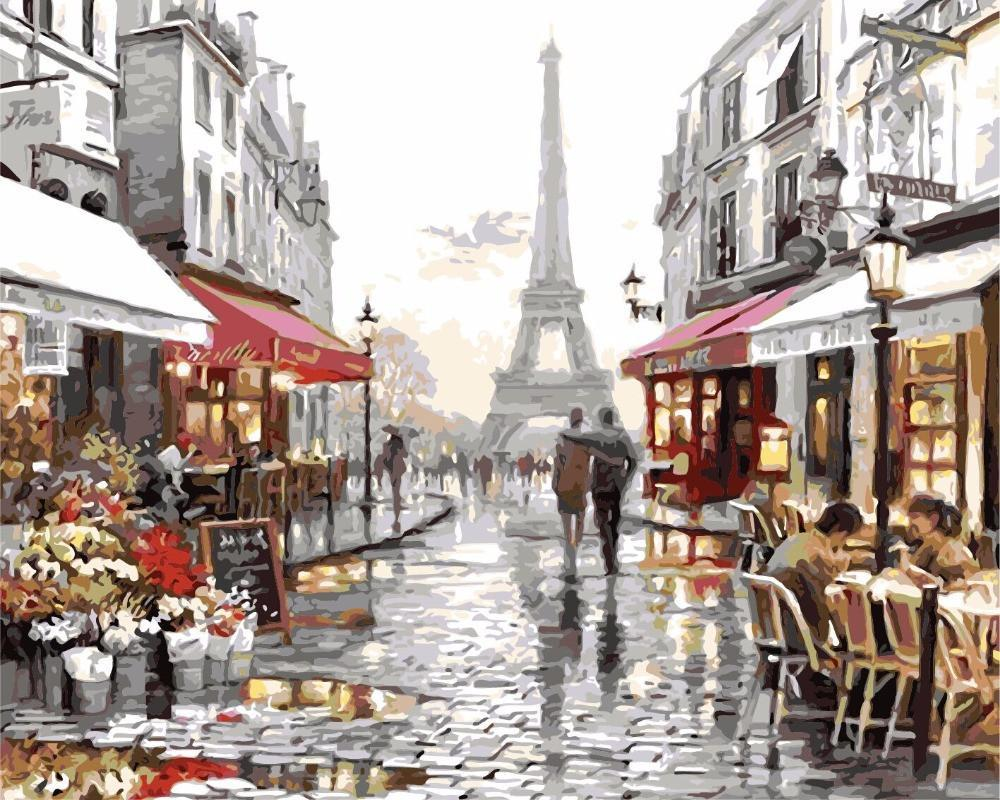 Art Oil Painting coloring canvas picture Paris Tower No Frame-GKandaa.net