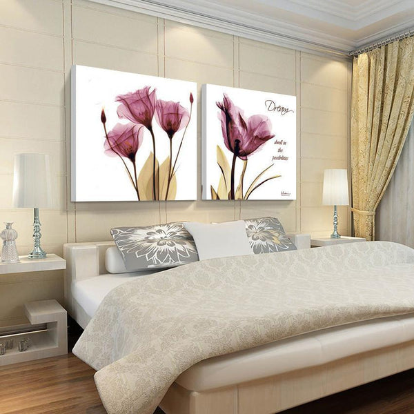 (no Frames) 2pcs canvas wall art pictures for sale living room the paintings purple modern abstract painting oil paint flowers - GKandAa