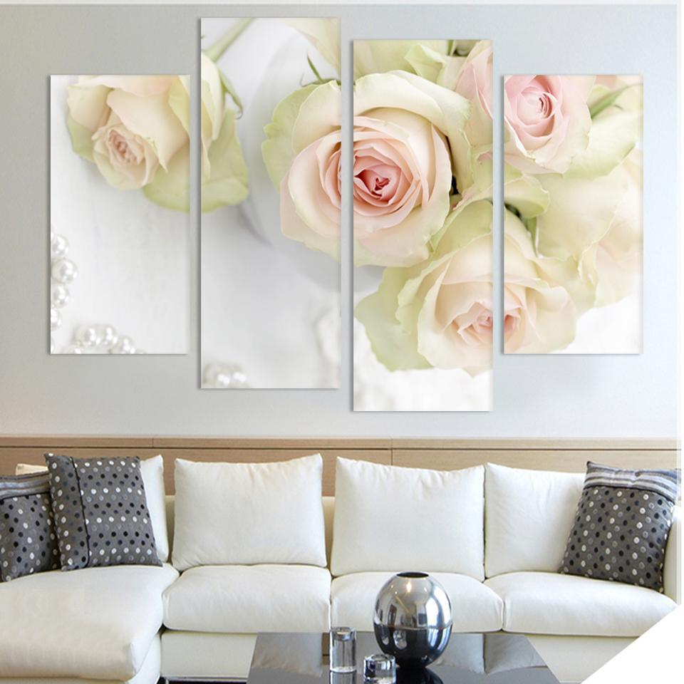 Art Oil Painting 4pcs canvas Beautiful roses Modular No Frame-GKandaa.net