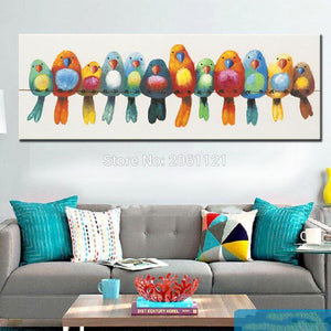 Art Oil Painting home-made canvas colorful birds cute lovely picture-GKandaa.net