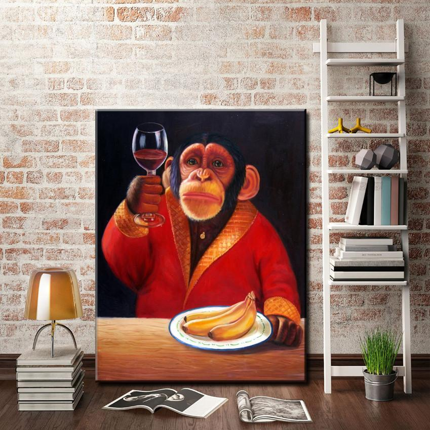 Art Oil Painting Monkey canvas home abstract canvas picture No Frame-GKandaa.net
