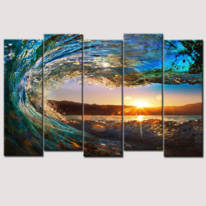 Art Oil Painting 5 Piece large huge wave modern ocean No Frame-GKandaa.net