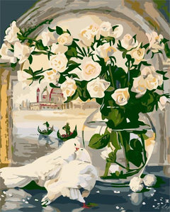 Art Oil Painting Rose and Dove Picture DIY Digital No Frame-GKandaa.net