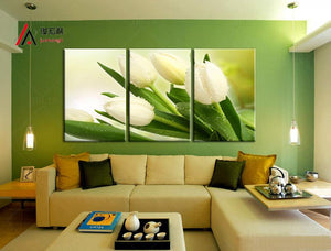 Art Oil Painting White tulips dripping large canvas modular no frame-GKandaa.net