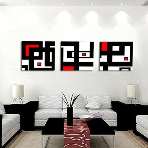 Art Oil Painting 3 Abstract Picture White Red and Geometric Figure-GKandaa.net