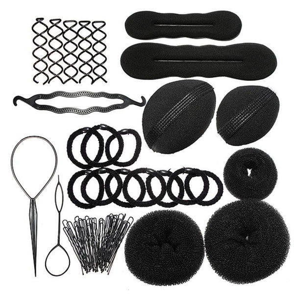 1 Set Lady Styling Base Accessories Maker Pads Hairpins Clips Insert Tool Hair Bun Beauty DIY Kit Sets Free Shipping - GKandAa - 1