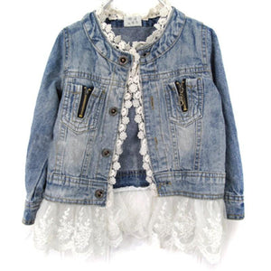 Girls Outerwear Coat Lace Cow jacket Denim Button Costume Outfits 2-7T-GKandaa.net