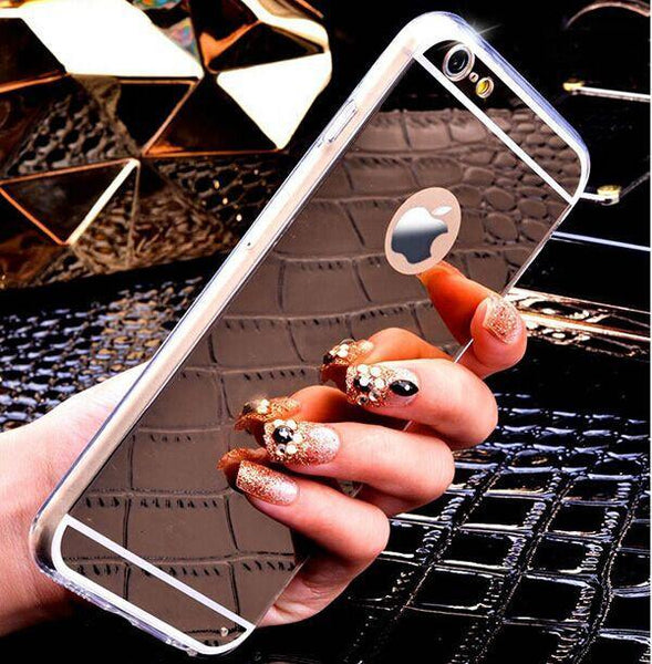 Case Cover for iPhone Rose gold Luxury Mirror Soft Clear TPU 7 Plus-GKandaa.net