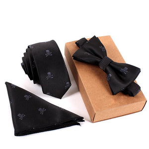 Men's Bow Ties Wedding Pocket Square Towel Print Set-GKandaa.net