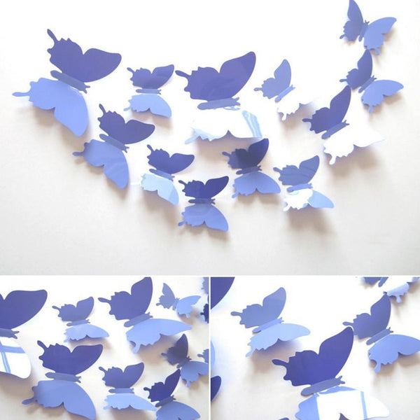 12Pcs/Set DIY Pvc Butterfly 3D Vintage Vinilos Wall Stickers For Kids Rooms Wallpaper Poster Bathroom Flowers Wall Decals L01 - GKandAa - 1