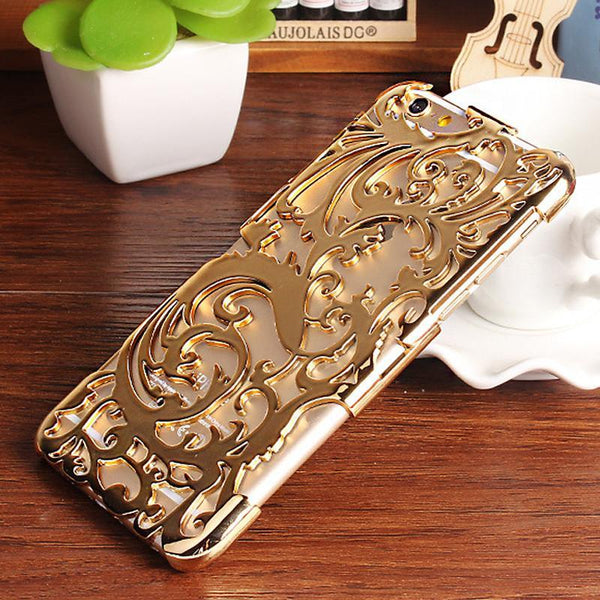 Fashion Artistic Carving Hollow Out Plating Phone Case Plastic Back Cover For iPhone 6 6S 4.7 6S Plus 5.5 5 5S SE - GKandAa - 1