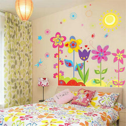 Cartoon flower and Sunflowers Wall Sticker Mural for Child kids Home Decor Removable Decals Hot Sale 2015 Free Shipping - GKandAa