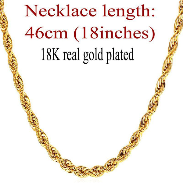 Necklaces 3MM 316L stainless Steel/ Gu/18K Real Gold Plated Rope-GKandaa.net