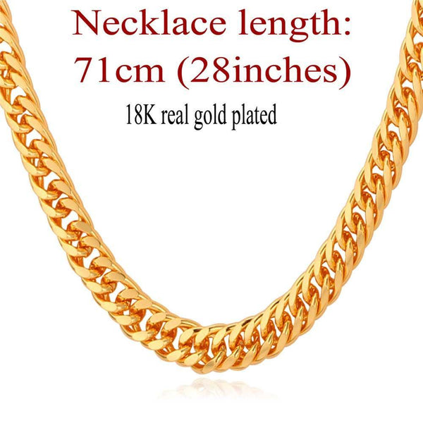 "Necklaces ""18K"" Gold Stamp Real Gold Plated 6MM 55CM 22""-GKandaa.net"