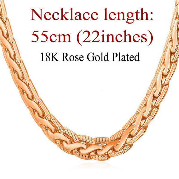 Necklaces 18K Stamp Gold 6mm Platinum/Rose Gold/18K Real Gold Plated-GKandaa.net