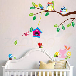 3D cartoon owls bird branch flowers wall stickers for kids room living room nursery home decor vinyl pvc Backdrop stickers mural - GKandAa