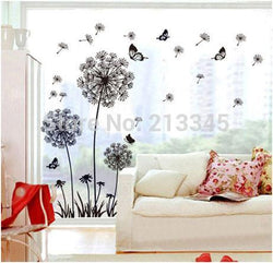 [Saturday Monopoly] hot sale DIY black dandelion flower butterfly art wall decor decals mural pvc wall stickers home decor - GKandAa - 1