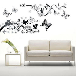 Bedroom Living Room Decoration Butterfly Flowers Tree Wall Stickers / Wall Decal Family Home Decor - GKandAa